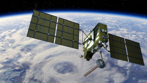 Image of satellite with solar arrays against a backdrop of the earth and cloud patterns.