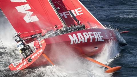 Volvo Ocean Race competitor Mapfre heeled over in heavy swell