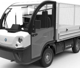 An electric road vehicle with cage body for cleaning and maintenance.