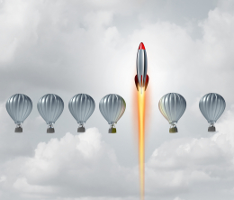 A row of hot air balloons with a rocket surging past them to illustrate how innovation (a rocket) can supercharge your growth as a company