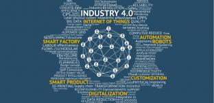 Industrial 4.0 Cyber Physical Systems concept , Gears text , Internet of things network , smart factory solution , Manufacturing technology , automation robot text with blue background