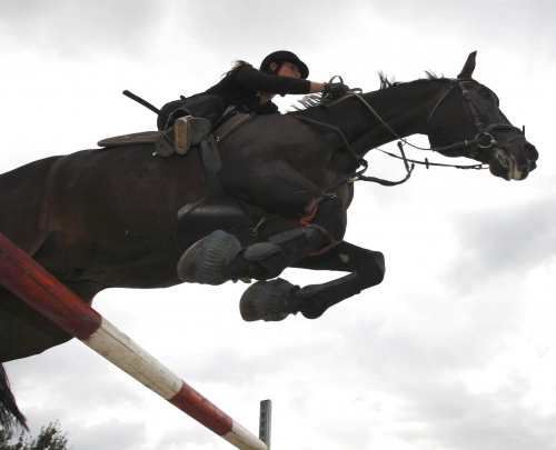 Picture from below of horse and female rider clearing a jump, silhouetted against a cloudy sky.