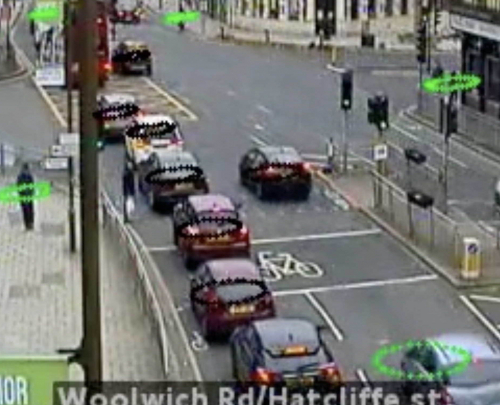 A screenshot of the social distancing tool, with humans ringed by coloured symbols against a London street JamCam image.